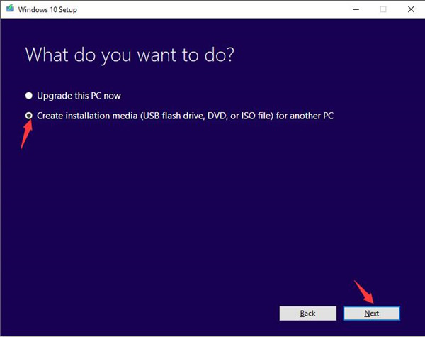 create installation media for another pc