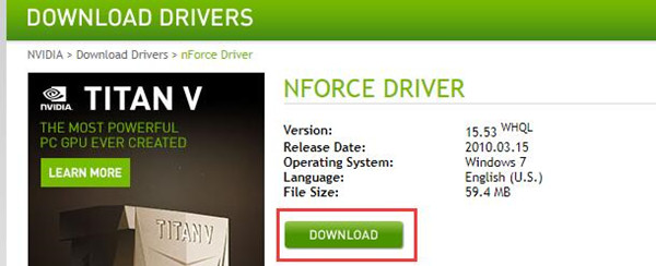 download nvidia nforce driver manually