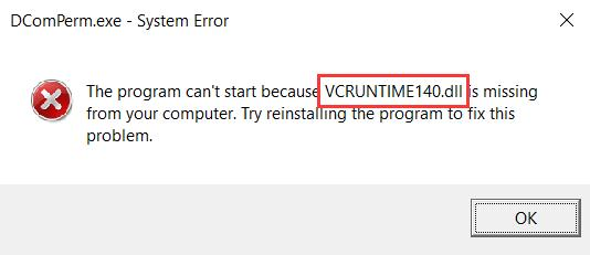 vcruntime140.dll missing windows 10