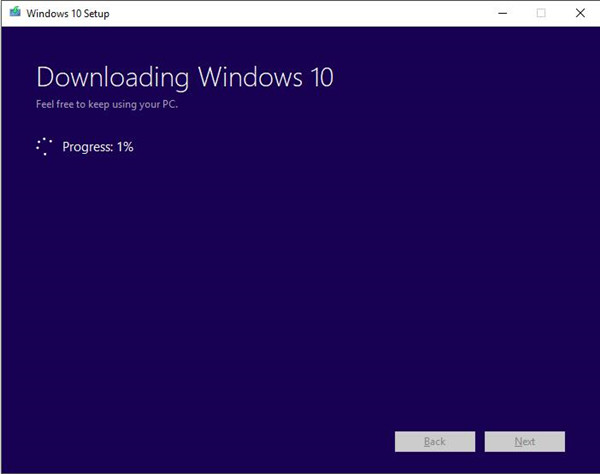 start downloading windows 10 iso