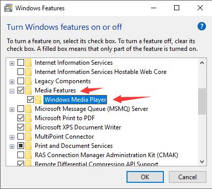 media features in windows features