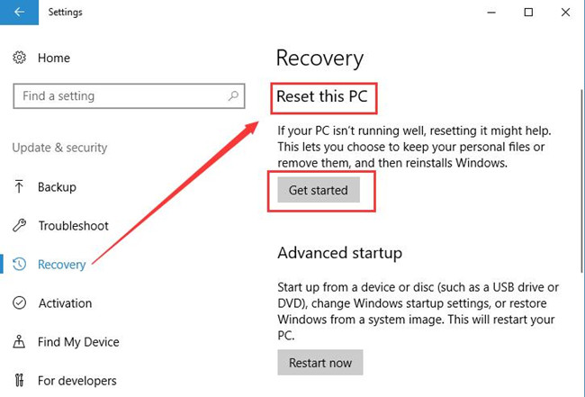 reset this pc get started