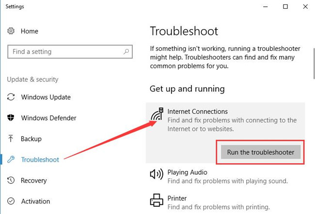 internet connection troubleshooter