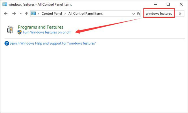 search windows features in control panel