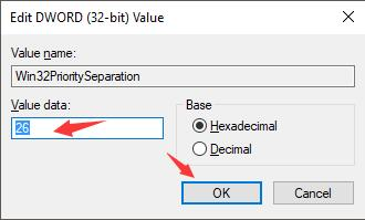 set win32 priority separation key as 26