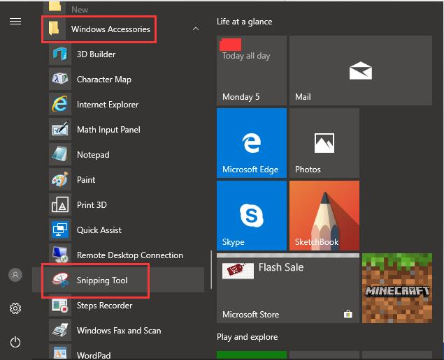 snipping tool under windows accessories