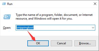 type in snipping tool in the run box