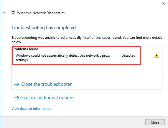 windows could not automatically detect this network proxy settings