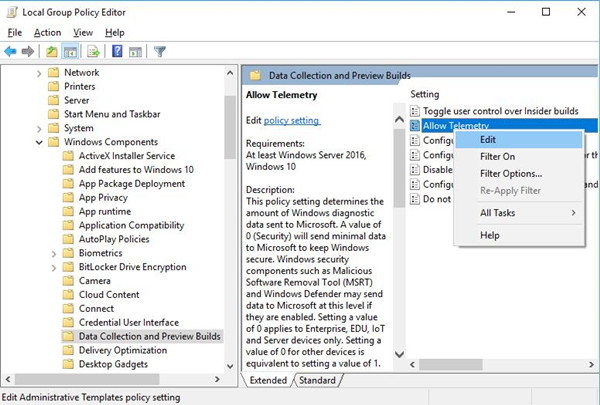 allow telemetry in group policy