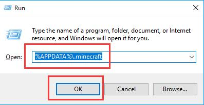 appdata minecraft in the run box