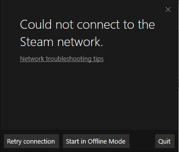 could not connect to the steam network