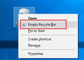 empty recycle bin windows 10
