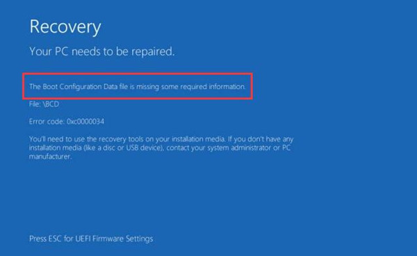 fix error code 0xc0000034 windows 10