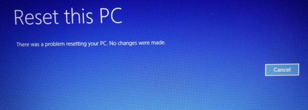 there was a problem resetting your pc windows 10