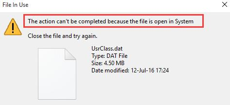 this action cannot be completed because the file is open in another program