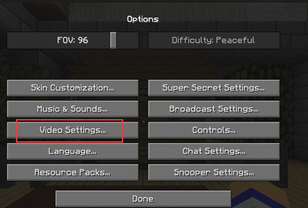 video settings in minecraft
