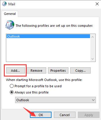 add a profile for outlook
