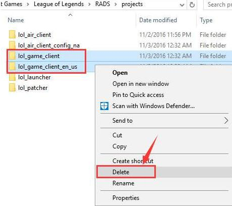 delete lol game client folders