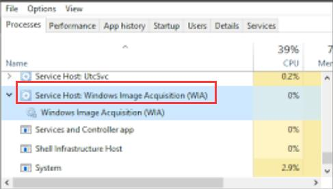 service host windows image acquisition high cpu usage
