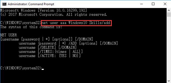 copy and paste net user newusername add in command prompt
