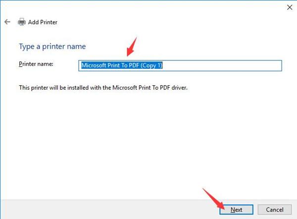 enter a printer name