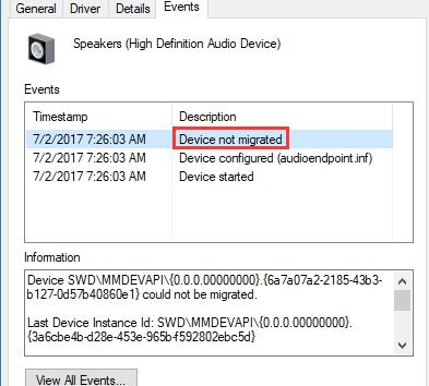 device not migrated on windows 10
