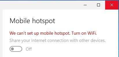we cannot set up mobile hotspot windows 10