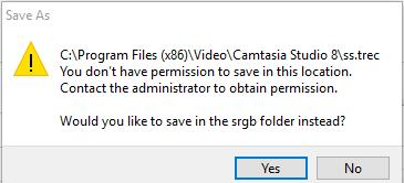 you do not have permission to save in this location windows 10