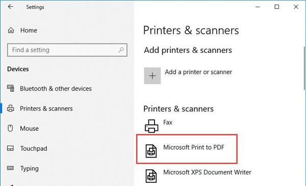 microsoft print to pdf missing windows 10