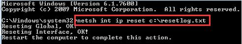 reset tcp ip in command prompt