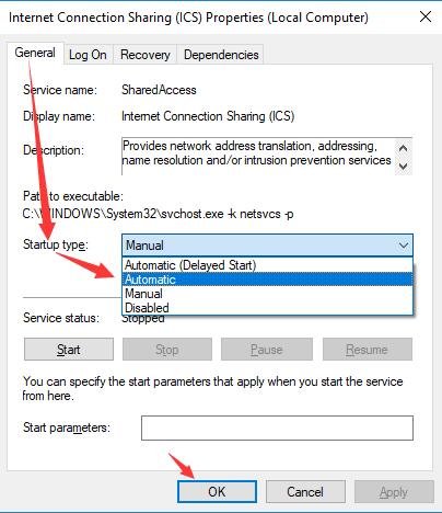 set internet connection sharing as automatic