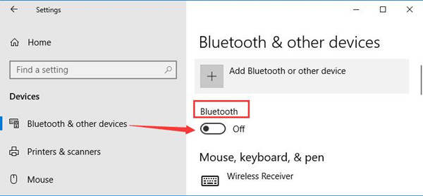 turn off bluetooth windows 10