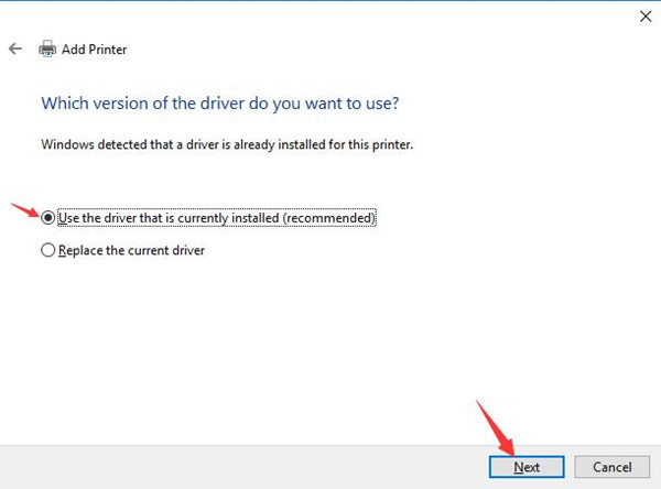 use the driver that is currently installed