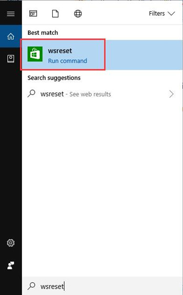 wsreset in start search box