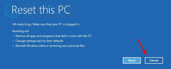 cancel for reset this pc