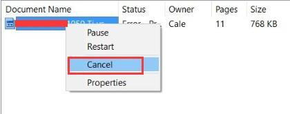 cancel print job windows 10