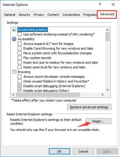 choose reset under advanced tab