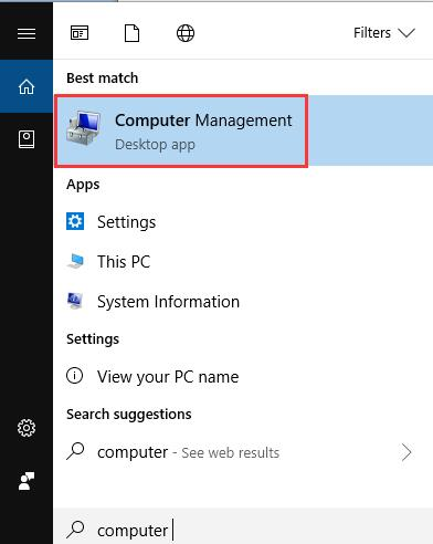 computer management in search box