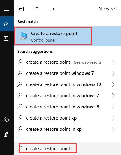 create a restore point