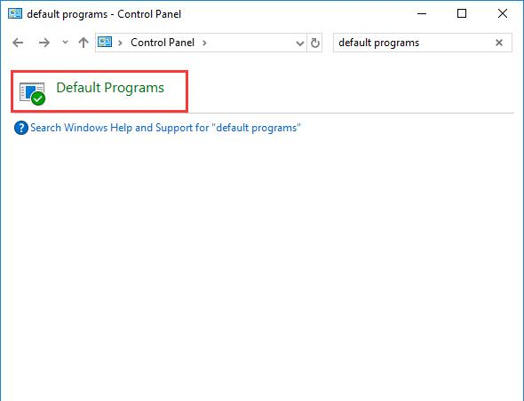 default programs in control panel