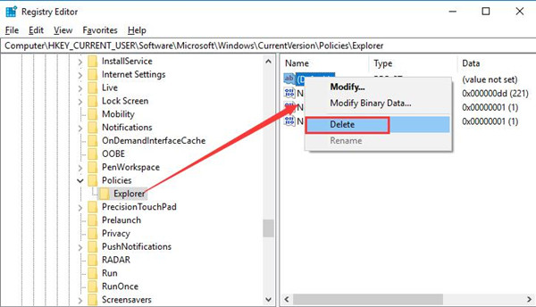 delete disallow run in the registry editor