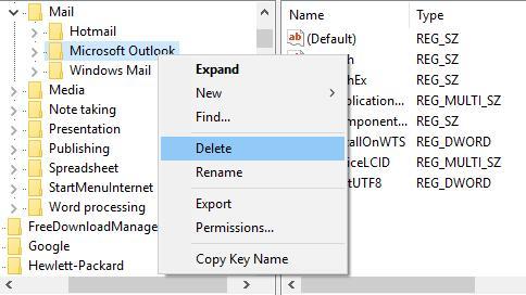 delete microsoft outlook in registry editor