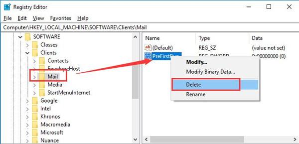delete perfirst run in registry editor