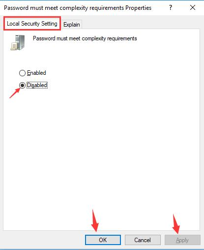 disabled password must need complexity requirements
