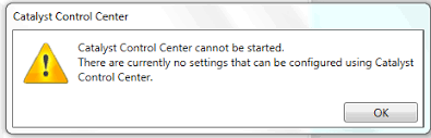 amd catalyst control center cannot be started