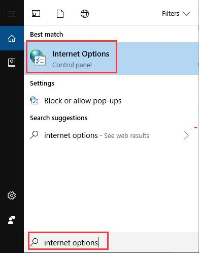 internet options in search box