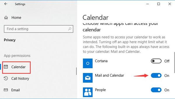 mail and calendar under calendar