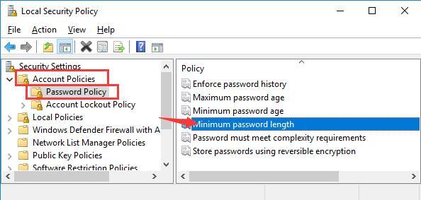 minimum password length