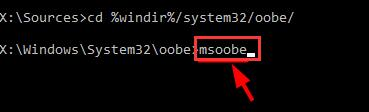 msoobe in command prompt