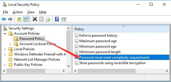 password must meet complexity requirements
